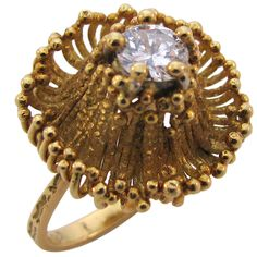 ANDREW GRIMA, 18k Gold and Diamond Ring, circa 1970 | From a unique collection of vintage solitaire rings at http://www.1stdibs.com/jewelry/rings/solitaire-rings/