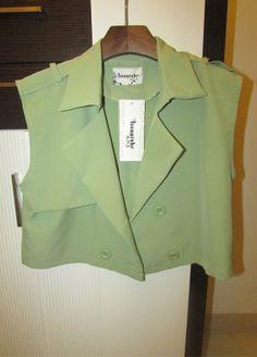 Chiffon Sleeveless Cropped Jacket Double Breasted