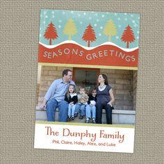 christmas photo card, Holiday photo card, seasons greetings digital, printable file. $10.00, via Etsy.