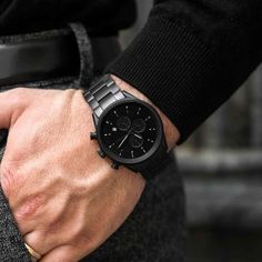 Our men's Matte Black Steel chronograph watch features a 3 hand Citizen Miyota movement and a stainless steel band. The stainless steel casing features scratch resistant sapphire crystal glass and water resistance. Best Watches For Men, Luxury Watches For Men, Watches For Men Affordable, Expensive Watches For Men, Stylish Watches, Cool Watches, Black Watches, Ootd Men, Breitling Colt