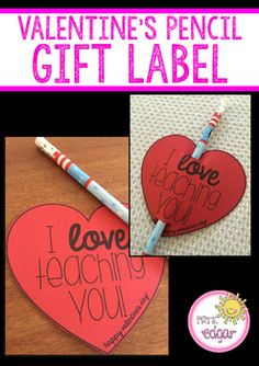 Cute and easy Valentine's Day gift for kids. Free Printable from Mrs. Edgar at TeachersPayTeachers. day gifts for students Valentine's Day Gift Label