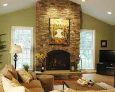 living rooms with vaulted ceilings images | Traditional Living Room Cathedral Ceiling Design, Pictures, Remodel ...