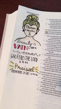 Proverbs 31:30 bible journaling Scripture Doodle, Scripture Study, Scripture Quotes, Bible Art, Scriptures, Bible Journaling For Beginners, Bible Study Journal, Art Journaling, Bible Verse Calligraphy