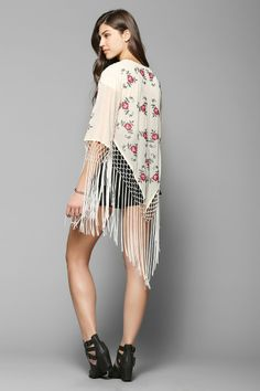 Pins And Needles Embroidered Roses Fringe Kimono Jacket - Urban Outfitters