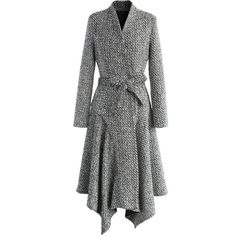 Chicwish Marvelous Asymmetric Tweed Longline Coat (£82) ❤ liked on Polyvore featuring outerwear, coats, grey, long gray coat, waist belts, grey tweed coat, asymmetrical coat and grey waist belt
