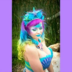 Mermaid :D Photo by @prelandra46  Hair dyed by @tenleymellring  Hair styled, makeup, and costume by me. June 2015 #mermaidhair #mermaid #mermaidcosplay #mermaidcostume #mermaidmakeup #colorfulhair #starfish #ion #manicpanic #rainbowhair #rainbowombre