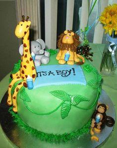 safari baby shower cakes boy | Jungle themed Baby Shower Cake | Baby Boy Nursery