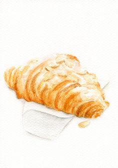 ORIGINAL Painting  Almond Croissant Food by ForestSpiritArt, £20.00