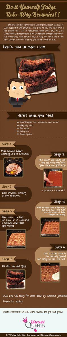 Discount Queens: Instructograph - DIY Rolo-Way Brownies  hidden milky ways and rolos!!!