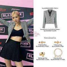 Kpop Outfits, Korean Outfits, Girl Outfits, Blackpink Fashion, Fashion Details, Fashion Dresses, Looks Teen, Blazer Buttons, Houndstooth