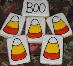 Candy Corn Decorated Sugar Cookies by Cookiedoodlez on Etsy