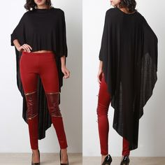 """LOWEST  """"Another Moon"""" Maxi Poncho High Low Top High low maxi poncho top. Has sleeves. Available in black, red, mustard and ivory. This listing is for the BLACK. Brand new. True to size. Bare Anthology Tops Tees - Short Sleeve"""