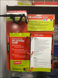 Staples Tethered Ink Cartridge Pick Card to Go Ball Chain, Card Sizes, Retail, Ink, Cards, India Ink, Maps, Playing Cards, Sleeve