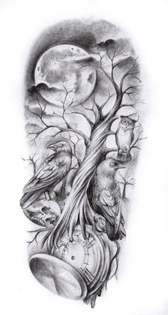 Tree tattoos have seen a comeback in recent times and now they are absolutely huge and popular especially amongst men. Tree tattoos are actually speculated to have been around for quite a while and amongst… Tattoo Design Drawings, Tattoo Sleeve Designs, Tattoo Sketches, Sleeve Tattoos, Skull Tattoos, Body Art Tattoos, New Tattoos, Tattoos For Guys, Stencils Tatuagem