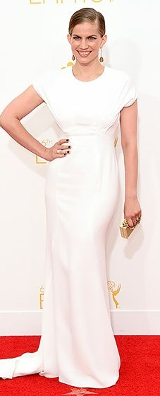 Veep actress Anna Chlumsky looked radiant in a white Zac Posen gown at the 2014 Emmys.