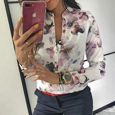 Spring Elegant Casual Blouse Floral Print Button Design, Long Sleeve Shirt for Woman Look Fashion, Womens Fashion, Jeans Fashion, Ladies Fashion, Trendy Fashion, Fashion Ideas, Women Sleeve, Basic Tops, Blouse Styles