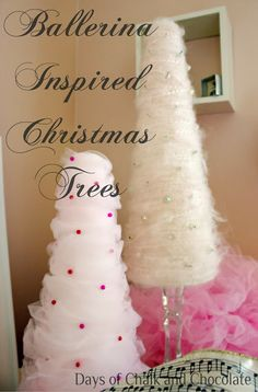Days of Chalk and Chocolate: Tulle and Yarn Christmas Trees Tutorial Tulle Christmas Trees, Christmas Dance, Decoration Christmas, Nutcracker Christmas, Pink Christmas, All Things Christmas, Christmas Holidays, Christmas Vignette, Christmas 2017