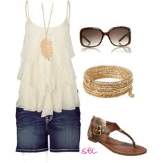 Super casual outfit - Can I wear jean shorts?!   Created by coombsie24 on Polyvore