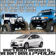 """After @jeeprecoveryteam and I started hazing each other- things started getting ugly... What first started as a joke became hateful name calling. We here at @It's A Jeep Meme aren't about that life.  @jeeprecoveryteam and I realized it's about more than the make@of our 4x4. It's about our mutual love for taking the wheel offroad.  We worked out many deals to reconcile(including me asking them to change their username) but we eventually agreed that we all hate the """"I art better than thou""""…"""
