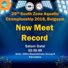 Saloni Dalal (02:50.99) Crushes the Record set in 2009 by M Raghavi (02:56.24) in the event of 200m Breaststroke GROUP-II Girls Well Done Saloni! #SwimIndia