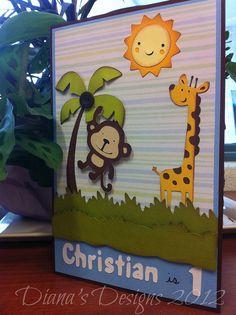 Cricut Create a Critter 1st Birtday Card Safari Theme