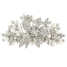 EVER FAITH Bridal Hibiscus Cream Simulated Pearl Hair Clip Barrette Clear Austrian Crystal ** This is an Amazon Affiliate link. You can get more details by clicking on the image.