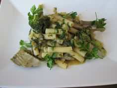 Pasta   Sedani   aux  broccoli  et   artichauts    persil  jus  de  veau        Gino  D'Aquino