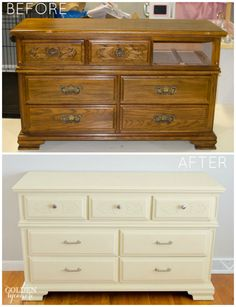 Furniture Transformation with Cream Chalk Paint® decorative paint by Annie Sloan | The Golden Sycamore Blog