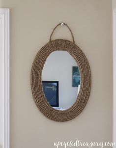 DIY Nautical Rope Mirror - Update an old mirror using rope! {UpcycledTreasures.com}