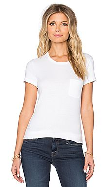 James Perse Skinny Brushed Jersey Pocket Tee in White Basic Tops, Basic Tank Top, James Perse, Revolve Clothing, White Tees, V Neck, Skinny, Pocket, Tank Tops