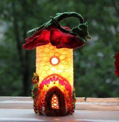 Fairy House, Fairy Home, Fairy Tale House, Felted Fairy House, Fairies and Elves, Nightlight, Poppy Magic Lamp, Fairy Garden accessories