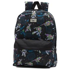 "Vans and Disney•Pixar Pixar go ""to infinity and beyond!"" for a collection inspired by Andy's favorite toys from the original Toy Story movie. Featuring an allover print of Buzz Lightyear, the Toy Story Old Skool II Backpack is a 100% polyester backpack with one large main compartment and a front zip pocket with an organizer for quick access. Measuring 16.5 L x 12.75 W x 4.75 D inches, it has a 22-liter capacity."