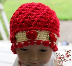 Baby Hat, Red, Off White, Roses, Baby Beanie, Baby Girl, 3 to 6 months, Photo Prop, READY TO SHIP. $26.99, via Etsy.