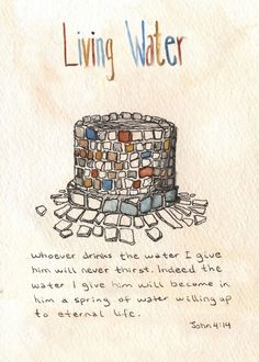 """""""Living Water"""" // Bible verse art by Laura Lin. Available to license on Biblestock: http://Biblestock.co/product/painted-verses"""