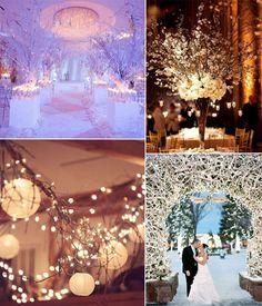 amazing winter wedding lights decor and detail