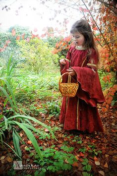 Little lady, young girl, red dress, basket, nobility, brown hair, wonder
