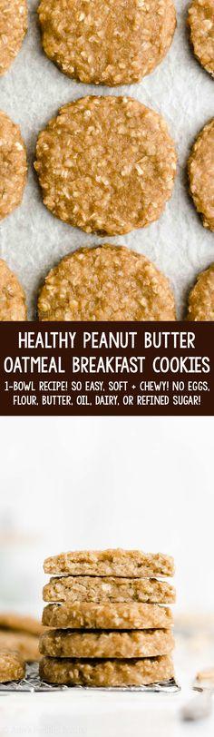Peanut Butter Breakfast, Oatmeal Breakfast Cookies, Breakfast Cookie Recipe, Peanut Butter Oatmeal, Healthy Peanut Butter, Healthy Cookie Recipes, Healthy Cookies, Healthy Sweets, Healthy Baking