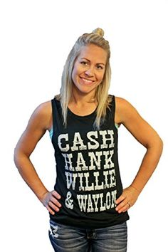 CASH HANK WILLIE WAYLON Muscle Tank with graphic by Tough Little LadyXL B  MUS -- Check this awesome product by going to the link at the image. 51ec90a4d