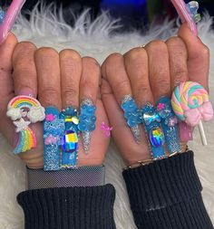 Colored Acrylic Nails, Bling Acrylic Nails, Best Acrylic Nails, Really Cute Nails, Pretty Nails, Glow Nails, Exotic Nails, Kawaii Nails, Fire Nails