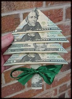 Decor: Fold your Christmas money into little Christmas tree