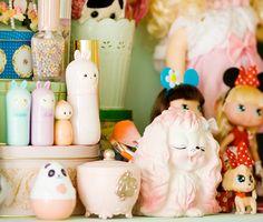 kawaii cosmetics and vintage ornaments