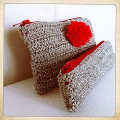 'Anna Karina' Silver crochet pouch with red pom pom & silver by blancaperse, $110.00