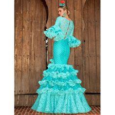 aguamarina-traje-de-flamenca-2 Cinderella, Disney Princess, Disney Characters, Dresses, Red Lace, Flamingos, Chiffon, Ruffles, Long Dresses