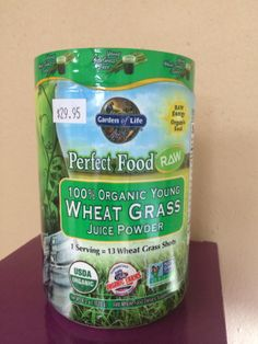 Garden of Life Wheat Grass. One serving equals 13 wheat grass shots.