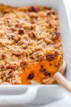 Sweet Potato Casserole with irresistible crunchy pecan topping. This sweet potato bake is smooth and puffs up while baking. A favorite Thanksgiving side! Natasha's Kitchen Sweet Potato Dishes, Mashed Sweet Potatoes, Sweet Potato Recipes, Sweet Potato Bake Recipe, Thanksgiving Dinner Recipes, Thanksgiving Side Dishes, Holiday Recipes, Thanksgiving 2020, Holiday Meals