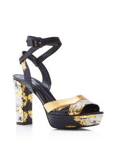 Delman Joni Snake Embossed Platform Sandals | Bloomingdale's