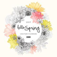 Marco de Flores de primavera - ilustración de arte vectorial