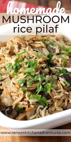 easy rice pilaf Homemade Mushroom Rice Pilaf by Renee's Kitchen Adventures. Ditch the box mix and make this delicious homemade mushroom rice pilaf at home in about the same time it take Rice Pilaf With Orzo, Easy Rice Pilaf, Rice Pilaf Recipe, Rice Recipes, Side Dish Recipes, Vegetable Recipes, Vegetarian Recipes, Cooking Recipes, Bean Recipes