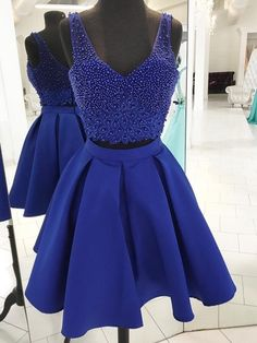 A-line V-neck Satin Tulle Short Mini Beading Prom Dresses a75bf42c0667