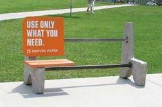 Use Only What You Need Guerrilla Marketing Park Bench